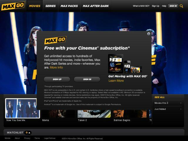 Cinemax Go Screenshot