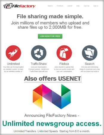 Filefactory Filesharing and Usenet