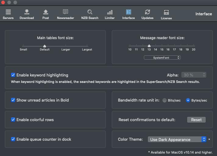 Usenapp Customize Interface